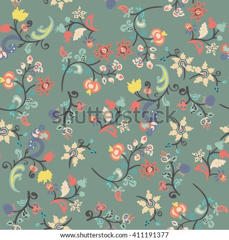 Seamless floral background. Romantic design with floral pattern. - stock vector