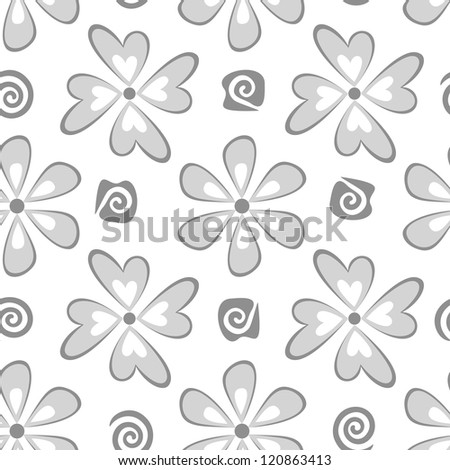 Seamless floral background, symbolical flowers, black silhouette on white. Vector - stock vector