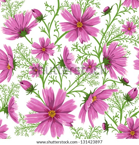 Seamless floral background with beautiful pink wild flowers - stock vector