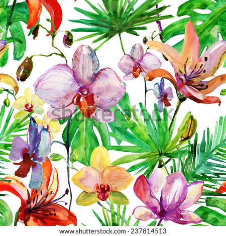 Seamless floral background with tropical flowers and leaves. Hand painted watercolor painting. Vector. - stock vector