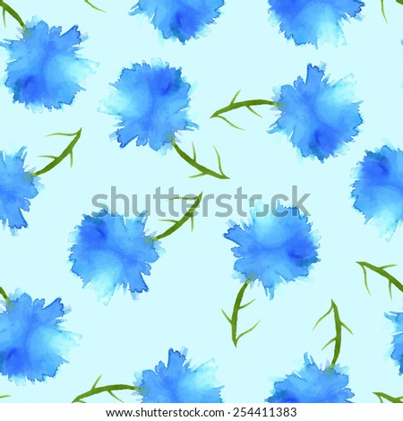 Seamless floral background with watercolor elements, vector. - stock vector