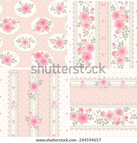 Seamless floral backgrounds and borders. Set of polka dot patterns with pink roses, laces and bows. Shabby chic style. - stock vector