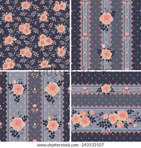 Seamless floral backgrounds and borders. Set of vector patterns with pink climbing roses. - stock vector