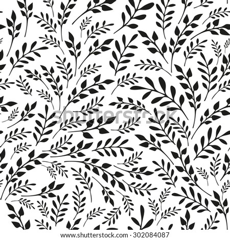 Seamless floral black and white background. Hand drawn vector illustration - stock vector