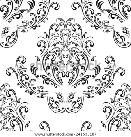 Seamless floral black damask Ornament on white. - stock vector