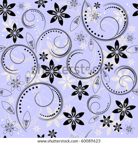 Seamless floral blue, black and white pattern (vector) - stock vector