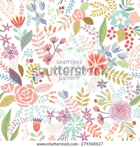 Seamless Floral colorful hand drawn pattern. Vector illustration. - stock vector