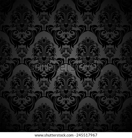 Seamless floral damask black Wallpaper for design - stock vector