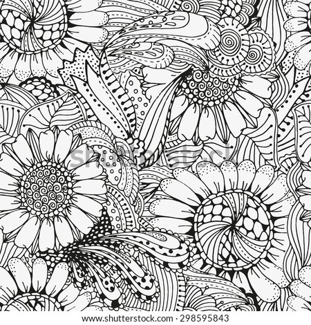 Seamless  floral doodle background pattern in vector.  Design asian, ethnic, tribal pattern. Black and white background. Coloring book. Sunflower zentangle - stock vector