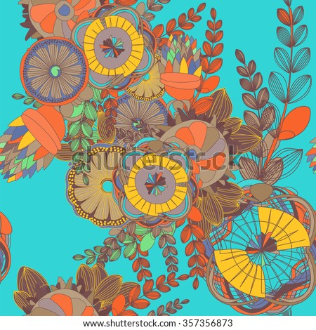 Seamless Floral Doodle Pattern with Leaves and abstract fantastic flowers. Design  zentangle. Decorative Hand Drawn Background. Sketchy ornate zentangle texture with abstract flowers. - stock vector