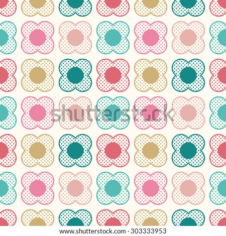 seamless floral dots cartoon pattern - stock vector