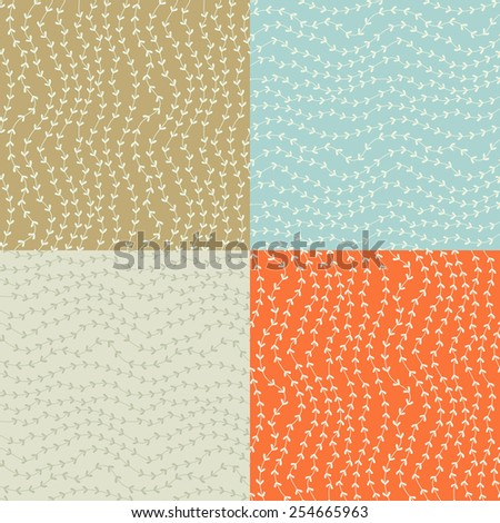 Seamless floral hand-drawn pattern, leaf background seamlessly tiling. Retro pattern with leaf. Organic ornament can be used as wallpaper. - stock vector
