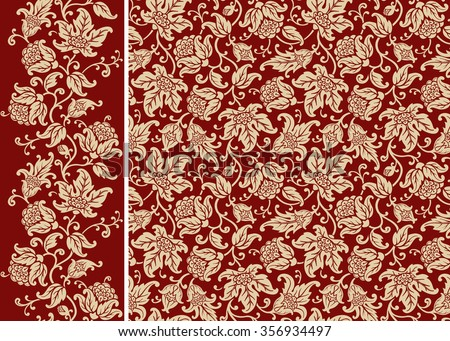 Seamless floral pattern and border. Ornamental texture with golden flowers and leaves. Vector background. - stock vector