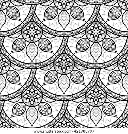 Seamless floral pattern. Black and white. Coloring book. - stock vector