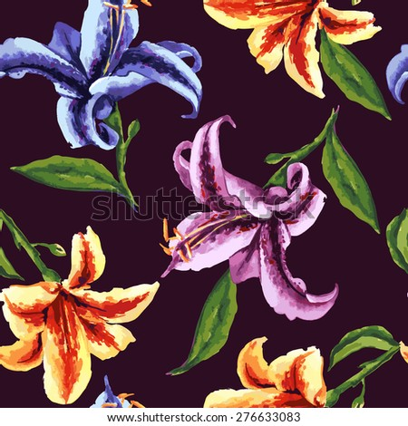 Seamless floral pattern. Flowers texture. Lily - stock vector