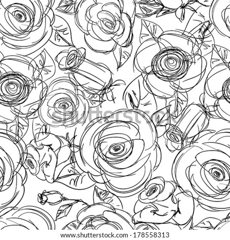 Seamless Floral Pattern. Hand Drawn Sketchy Background with Roses. Doodle Flower textile. Good For Web, print, Wrapping Paper. Black and White. - stock vector