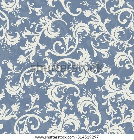 seamless floral pattern in blue - stock vector