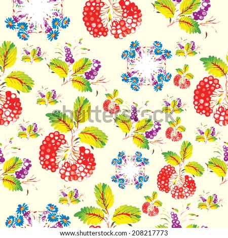 Seamless floral pattern in folk style (Petrykivsky Painting, Ukraine), EPS10 - stock vector