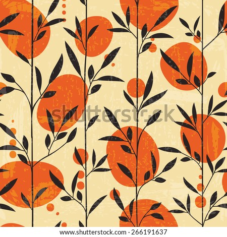 Seamless floral pattern in Japanese style. Vector illustration  - stock vector