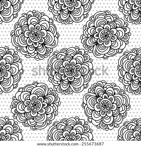Seamless floral pattern in naive ethnic style, folk motifs. - stock vector