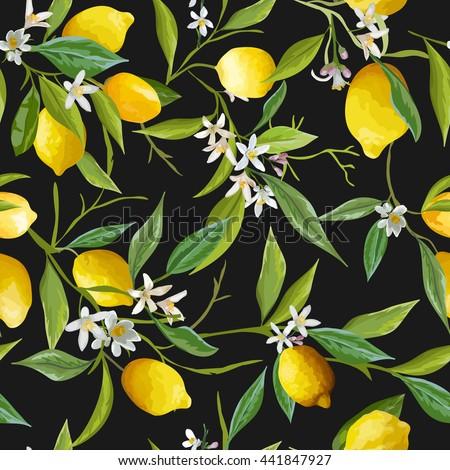 Seamless Floral Pattern. Lemon Fruits Background. Flowers, Leaves, Lemons. Vector - stock vector