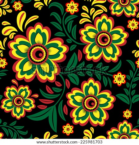 Seamless floral pattern on a black background for your design - stock vector