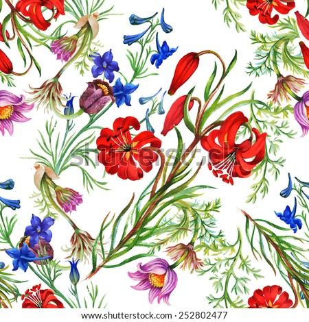 Seamless floral pattern on white background with meadow flowers vector illustration - stock vector