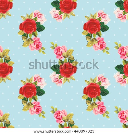 Seamless floral pattern red and rose Vector Illustration EPS8 - stock vector