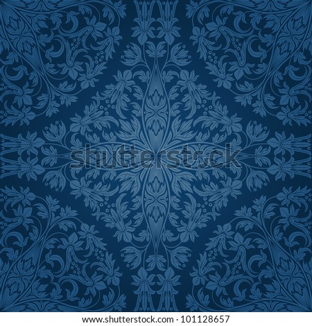 Seamless floral pattern. Retro background. Vector illustration. - stock vector