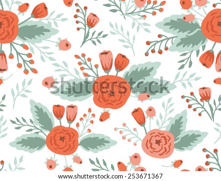 Seamless floral pattern, roses and tulips, vintage illustration. - stock vector