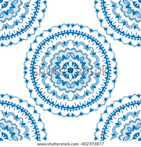 Seamless floral pattern. Seamless floral pattern of circular ornaments. Blue ornament of berries and flowers in the style of Chinese painting on porcelain. Vector illustration. - stock vector