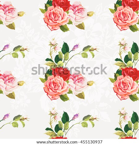 Seamless floral pattern three rose Vector Illustration EPS8 - stock vector