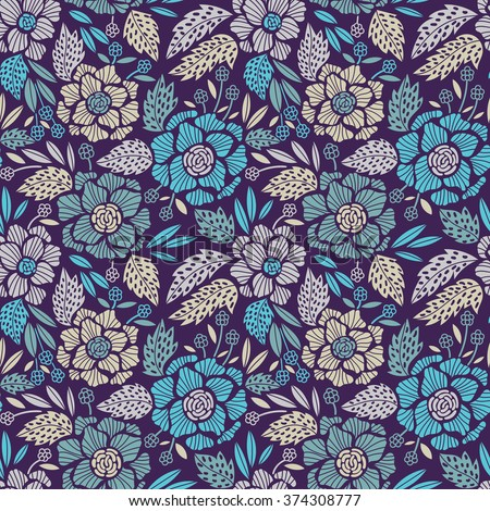 Seamless floral pattern. Vector floral background - stock vector