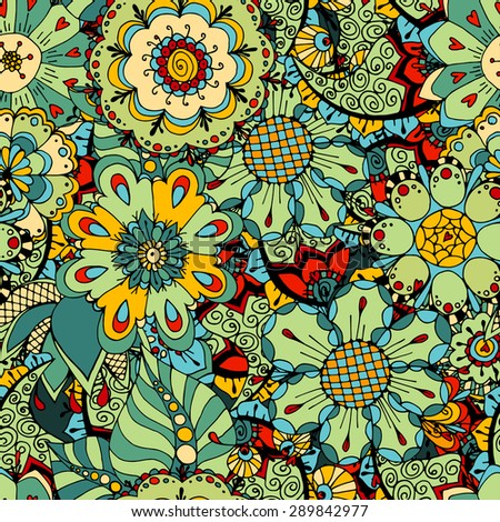 Seamless Floral Pattern. Vector illustration. Hand Drawn Texture - stock vector