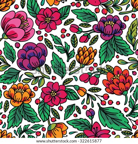 Seamless floral pattern. Vector illustration with bright flowers. - stock vector