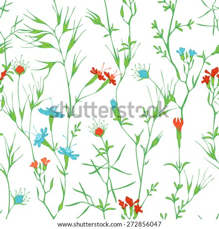 Seamless floral pattern. Vector pattern of flowers and grass on white background. - stock vector