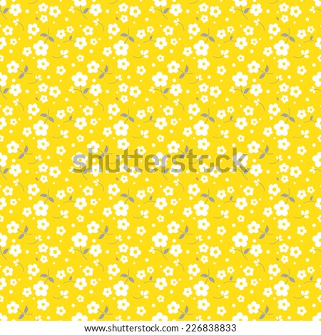 Yellow And Gray Floral Pattern Seamless floral pattern