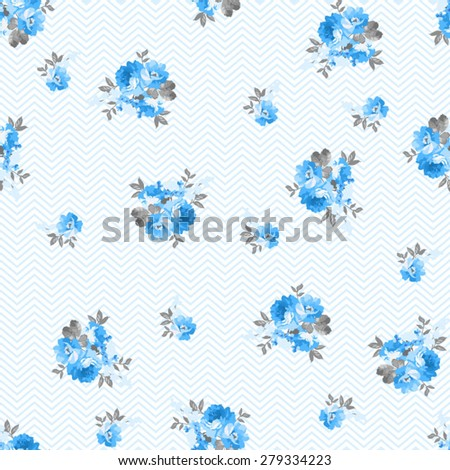 Seamless floral pattern with blue rose - stock vector