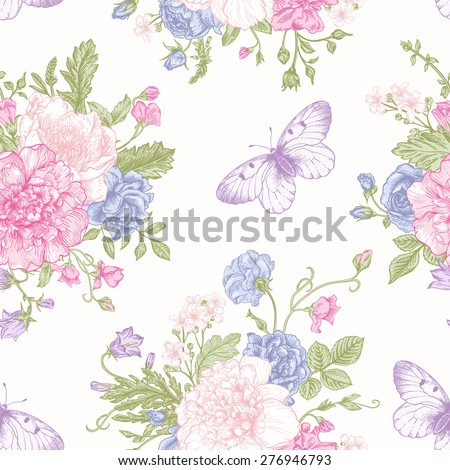 Seamless floral pattern with bouquet of colorful flowers and butterflies on a white background. Peonies, roses, sweet peas, bell. Vector illustration. - stock vector
