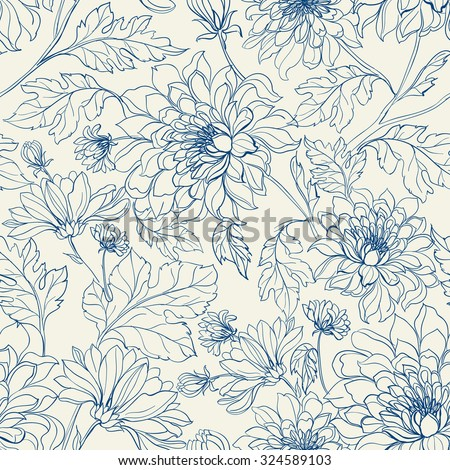 Seamless floral pattern with chrysanthemums. Blue lines on white background. Vector illustration. - stock vector
