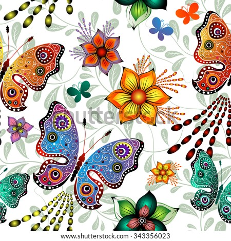 Seamless floral pattern with colorful gradient butterflies (vector eps10) - stock vector
