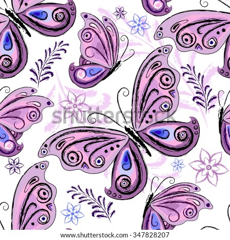 Seamless floral pattern with colorful violet butterflies (vector) - stock vector