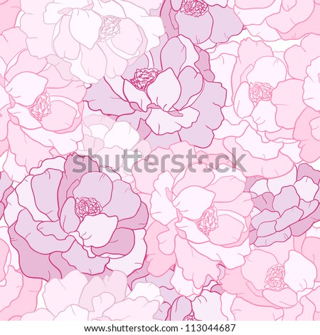 Seamless floral pattern with flower petal - stock vector