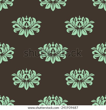 Seamless floral pattern with green lush flowers of peony on dark brown background suited for fabric or wallpaper design - stock vector