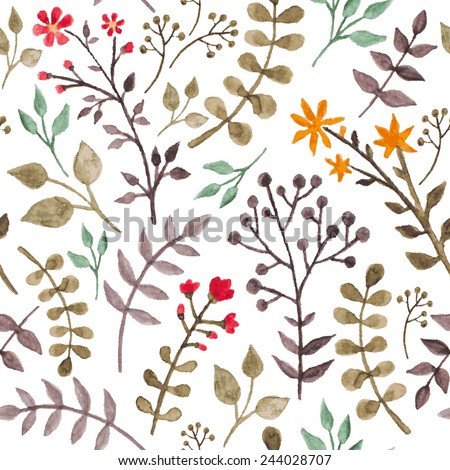 Seamless floral pattern with herbs and leaves - stock vector