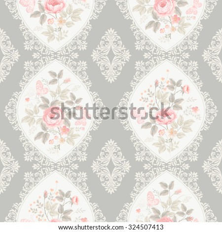 seamless floral pattern with lace and borders - stock vector