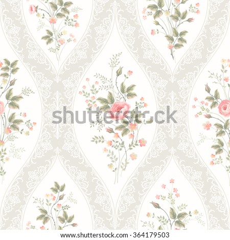 seamless floral pattern with lace and rose bouquet - stock vector