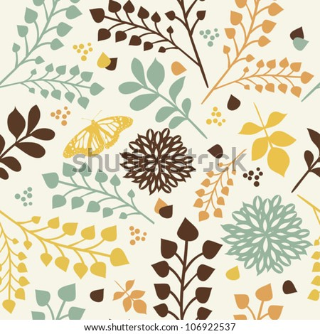 Seamless floral pattern with leaves, flowers and butterfly - stock vector