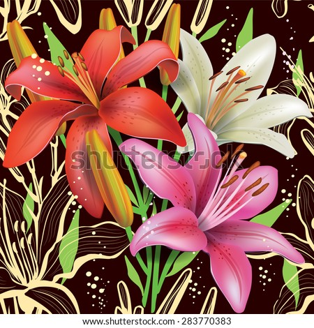Seamless floral pattern with lilies - stock vector