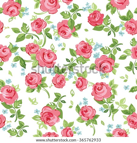 Seamless floral pattern with little red roses, vector illustration - stock vector